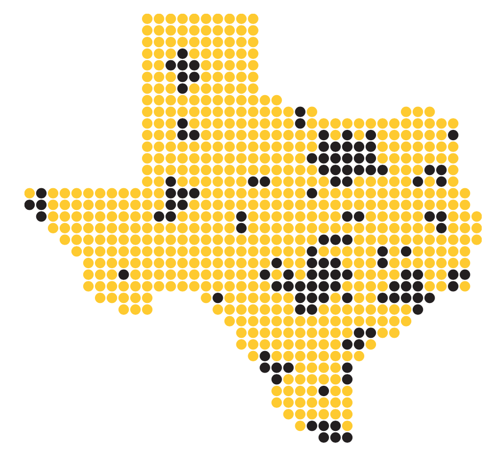 map of Texas Tribune audience